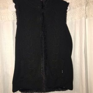 New York & Co Reversible Faux Fur/Knitted Vest